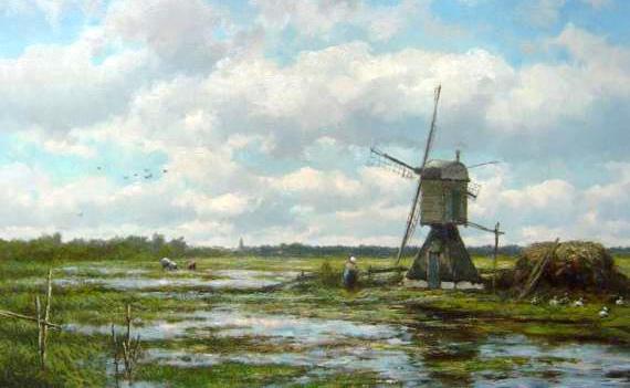 Koekkoek Landschap met molen bij Vreeland